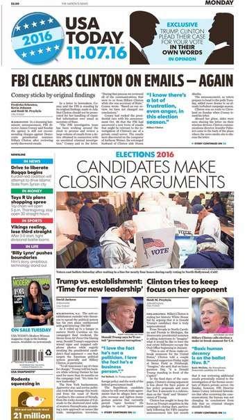 USA Today November 07 2016