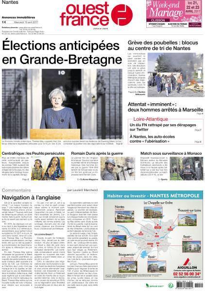 Ouest France du Mercredi 19 Avril 2017